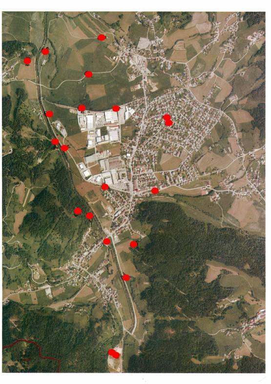 Lokacije postavitve klopi v občini Žiri